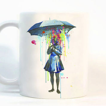 Girl coffee mug / girl with umbrella / Printed mugs Girl mug / Colorful girl mug / Gift for her / Tea Cup / Ceramic girl mug / Coffee mugs