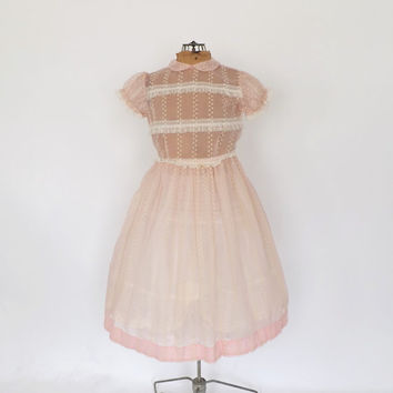Vintage 1940s / 1950s Party Dress Sheer Cotton Voile Pink Dress Edwardian Little Girls Dress Flower Girl Gown Wedding Lolita Tea Dress