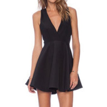 Black Sleeveless V Neck Flare Dress