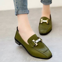 Summer Stylish Metal Square Toe With Heel Korean Casual Shoes [6366208068]