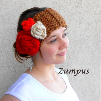 Brown Rose Headband Earwarmer- Women's Winter Wear- Red Brown Cream Orange- Crochet Hat- Warm Winter Cap- Winter Fashion