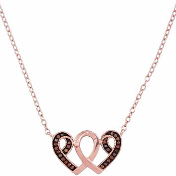 10k Rose Gold Women's Red Diamond Heart Awareness Ribbon Pendant - FREE Shipping (US/CA)