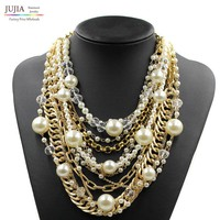2017 NEW  fashion necklace collar pearl Necklaces & Pendants trendy choker chunky metal chain statement simulated pearl necklace