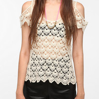 Pins and Needles Cold Shoulder Crocheted Top