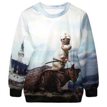 Mouse Musketeer Riding Cat All Over Print Pullover Sweatshirt Sweater | Gifts for Animal Lovers