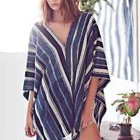 Vintage Striped Indigo Poncho