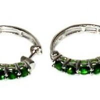 Russian Chrome Diopside Hoop Earrings 2.00 cts  sterling silver