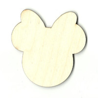 Minnie Mouse Head Unfinished Laser Cut Wood Shape DSY424