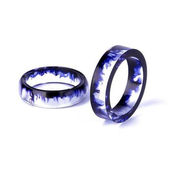 Resin Couple Personality Tail Ring - Ink Mirror 6-16MM/7-17mm/8-18MM/9-19MM/10-20MM Best Friend Gifts