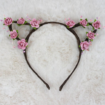 Dusty Pink Cat Ears - Flower Cat Headband - Cat Ears Headband - Kitty Ears -  Coachella Festival - Kitten Play Ears - Petplay - Kittenplay
