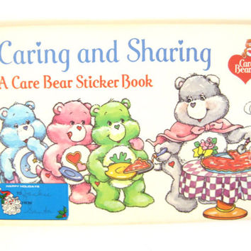 1984 Vintage Care Bears Caring and Sharing Sticker Book // Activity Book // Pizza Hut Promotional Item // Unused // Ephemera