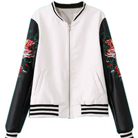 White PU Embroidery Floral Bomber Jacket With Black Sleeve - Choies.com