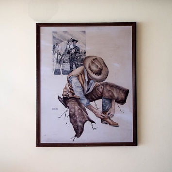 Vintage Signed Western Cowboy Watercolor Painting by M Martin