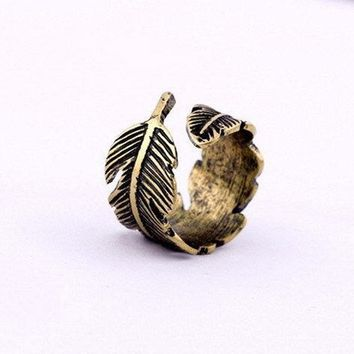 Ocaler®Feather Wrap Ring Vintage Gold Tone Plume fashion Ring