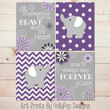 Nursery Decor Purple Gray Nursery Modern Girls Room Art Prints Forever Young Lyrics Elephant Nursery Wall Decor Toddler Girls Room Art #0810
