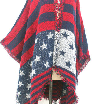 Boho Kimono cardigan, American flag clothing, birthday gifts for mom for her, USA poncho, red white blue, plus size poncho clothing, PiYOYO