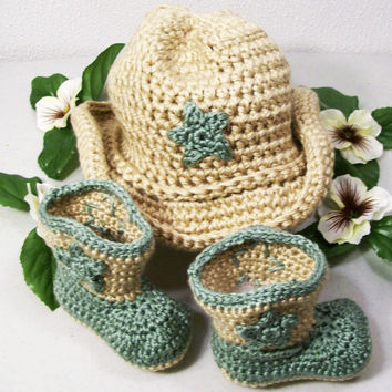 Cowboy Hat and Boots -Baby Boy Cowboy Gift Set-Tan and Sage Green--Baby Shower Gift- --#219