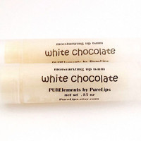 All Natural Creamy White Chocolate Lip Balm - Made with Real Organic Raw Unrefined Cocoa Butter with True Chocolate Aroma from Cocoa Butter