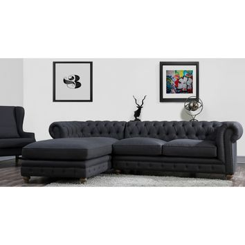 TOV Furniture Oxford Linen LAF Sectional - Grey | Hayneedle