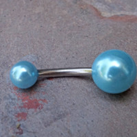 Simple Aqua Pearl Belly Button Jewelry Ring