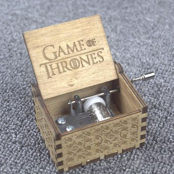 Xmas Gifts Game of Thrones Star Wars Harry Potter Merry Christmas Theme Handmade Engraved Wooden Music Box Crafts Cosplay