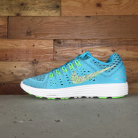 Nike LunarTempo Running Shoes By Glitter Kicks - Customized With Swarovski Crystal Rhinestones - Teal/Yellow