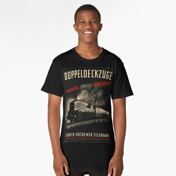 """Black German Train Old Poster"" Long T-Shirt by hypnotzd 