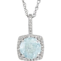 "Sterling Silver 7mm Aquamarine & .015 CTW Diamond 18"" Halo-Style Necklace"