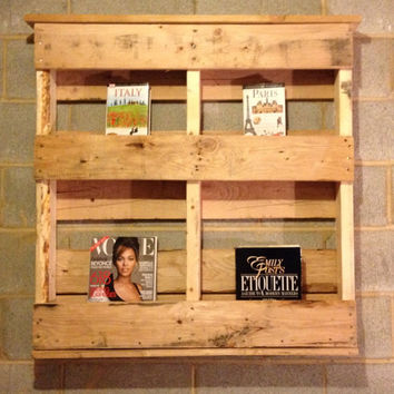 Handmade Pallet Wine Rack, Magazine Rack, Rustic Decor, Upcycled, Reclaimed, Home Decor, Kitchen, Repurposed, Wood, Furniture, Book Shelf