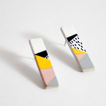 Geometric earrings.  Hand painted stud sticks earrings. Surgical stainless steel posts. Minimalist earrings.
