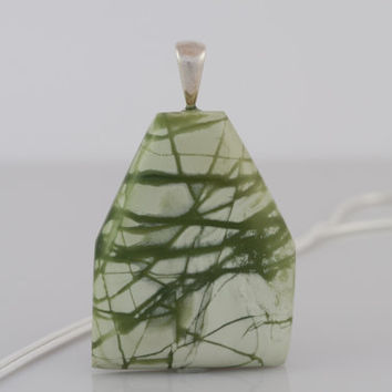 Large Green Imperial Jasper Pendant Necklace on Sterling Silver Snake Chain