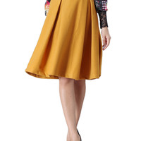 Yellow Woolen Midi Skirt