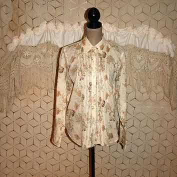 Beige Floral Blouse Long Sleeve Shirt Floral Grunge Top Pleats Sheer Button Up Romanti