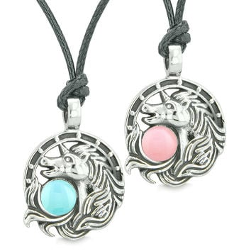 Unicorn Best Friends or Love Couples Amulets Lucky Horse Shoe Baby Pink Blue Pendant Adjustable Necklaces