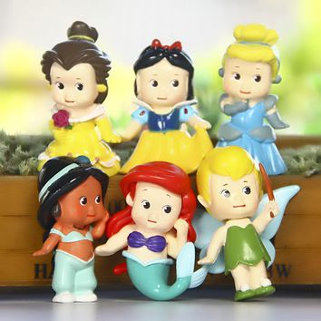 Disney Toys 6pcs/Set Cute Mini Princess Snow White Mermaid PVC Action Figures Cinderella Figurines Collectible Dolls Kids Toys
