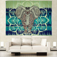 2016 Hot 153x203cm Indian Bohemian Tapestry Elephant Peacock Boho Wall Hanging Carpet Bedspread Beach Picnic Blanket Pad