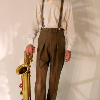 1940's mens pants, 1930's high waisted slacks, made to measure swing trousers, made to order pants, brown pinstripe bespoke lindy hop pants