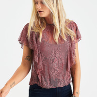 AEO Ruffled Lace Top, Burgundy