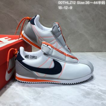 KUYOU N831 Kendrick Lamar x Nike Cortez Basic Slip Casual Running Shoes Grey Black Orange