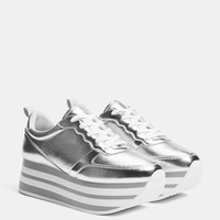 Silver platform sneakers - SHOES - Bershka United States