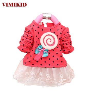 VIMIKID 2017 Newest Autumn Spring Kids Sweater Greatly Lollipop Full Version Dot Girls T-shirt Stitching Baby Girls lace Dresses