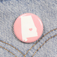 Alabama Heart 1.25 Inch Pin Back Button Badge