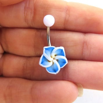 Blue Hawaiian Flower Plumeria Belly Button Ring