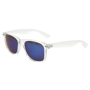 Clear Frame Reflective Wayfarer Sunglasses | Wet Seal