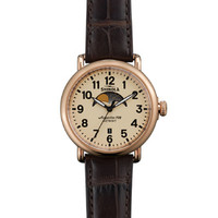 Shinola 'The Runwell' Moon Phase Cream Dial Watch with Brown Genuine Alligator Strap, 41mm
