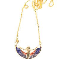 Oriental Gold-tone Brass Pendant Necklace,' Winged Isis'