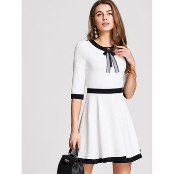 Bow Detail Fit & Flare Textured Dress