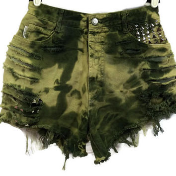 High Waist Cut Off Bongo Jean Shorts Free Shipping Camouflage Green Marbled Tye Dye Tie Dyed Denim Slashed Frayed Holes Frayed Zip Fly