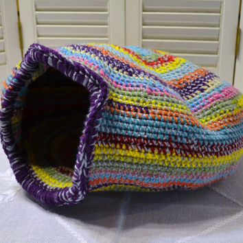 Crochet Cat Cave Nest Pet Bed Large Multi Color Handmade Littlestsister