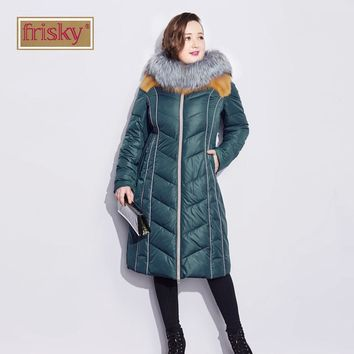 Frisky The New Female Thick Winter Parka High Quality Fox Fur Collar Brand Fashion Casual Down Jacket 2015 Down Jacket FR5309